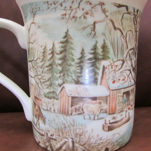 Vintage pastel country farm scenes  2 coffee mugs